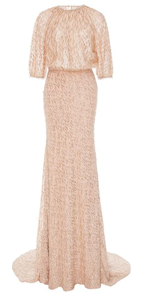 Lela Rose Blouson Top Gown in pink - This *Lela Rose* dress features a round neckline puff...