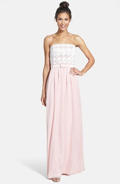Lela Rose lace & crinkled chiffon gown in rose