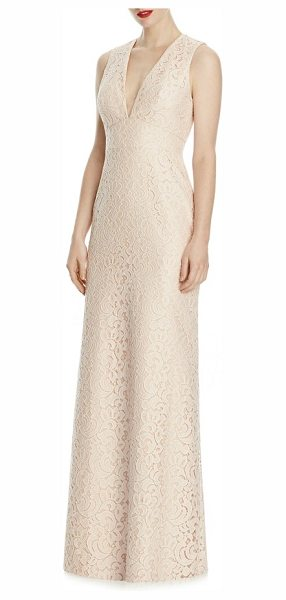 Lela Rose v-neck lace a-line gown in blush/ cameo - Exquisitely detailed lace skims your curves in this...