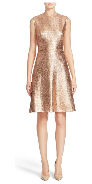 Lela Rose coated metallic seamed a-line dress in copper - Lela Rose's expert tailoring truly shines on this...