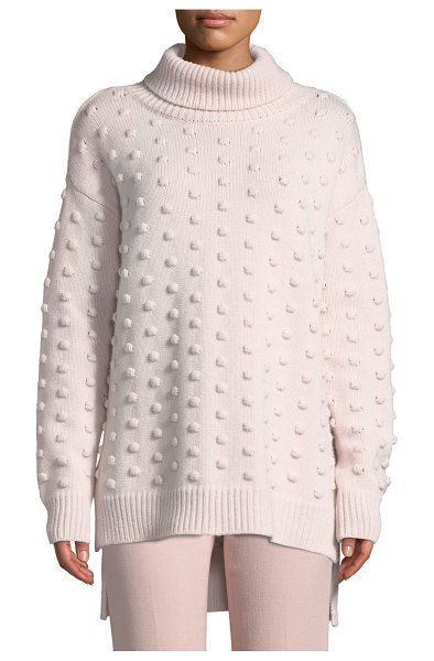 Lela Rose Dotted Turtleneck Wool-Cashmere Pullover Sweater in pink pattern