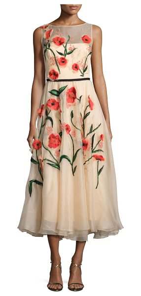 Lela Rose Floral-Appliqué Sleeveless Midi Dress in coral - Lela Rose chiffon midi dress with beaded floral appliqu....