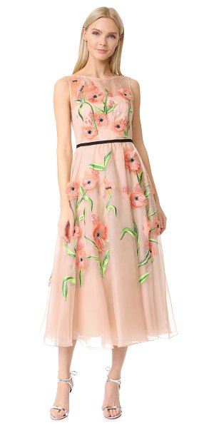Lela Rose floral embroidered dress in blush multi - Layered embroidery and appliqués lend dimension to this...