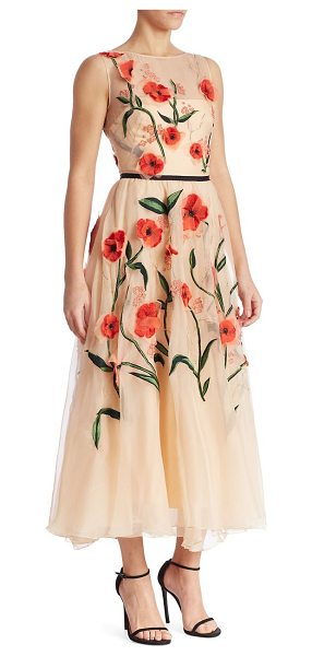 Lela Rose floral embroidered dress in coral multi - Gorgeous floral embroidery details this semi-sheer...