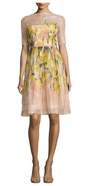 Lela Rose Floral Glossed Organza A-Line Dress in blush - Lela Rose dress featuring floral motif on glossed...