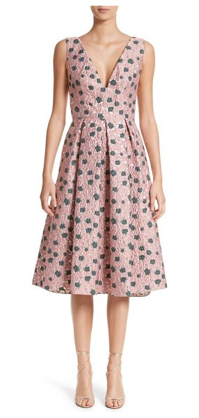 Lela Rose floral matelasse a-line dress in peony / silver - Shimmering silver threads and lightly textured blossoms...