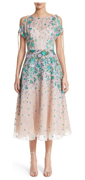 Lela Rose floral matelasse cold shoulder dress in lavender/nude - Textured petals of purple and turquoise float dreamily...