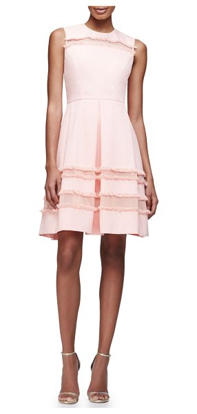 "LELA ROSE Grace Full-Skirt Fringe-Trim Dress - Lela Rose ""Grace"" cotton-blend dress. Approx. length:..."