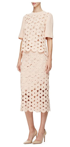 Lela Rose Half-Sleeve Crochet Top in blush - Lela Rose textured-knit top with circle crochet front....