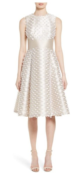 Lela Rose juliet satin fringe dress in stone - Feathery fringe adds effervescent embellishment to this...