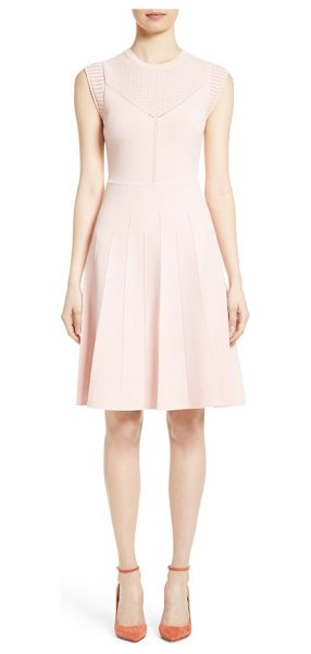 Lela Rose knit fit & flare dress in blush - Delicate pointelle stitching and scalloped edges further...