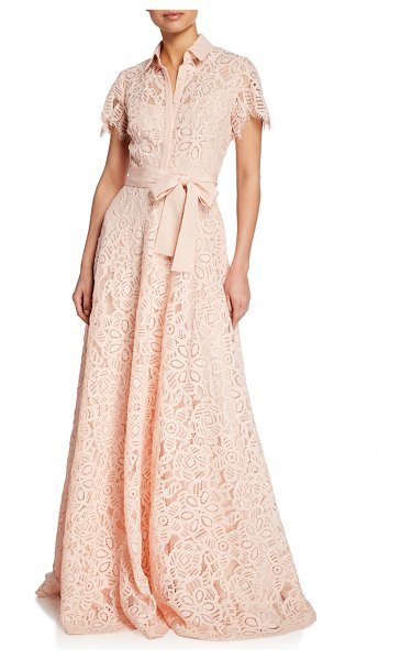 Lela Rose Lace Flutter-Sleeve Shirt Gown in pink