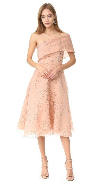 Lela Rose one shoulder dress in shell - Allover puckers and embroidered striations accent this...