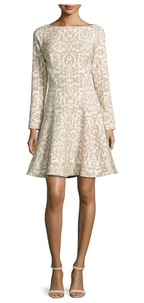 Lela Rose Long-Sleeve Ornamental Fit-&-Flare Dress in tan/ivory - Lela Rose ornamental cotton-blend dress. Approx. length:...