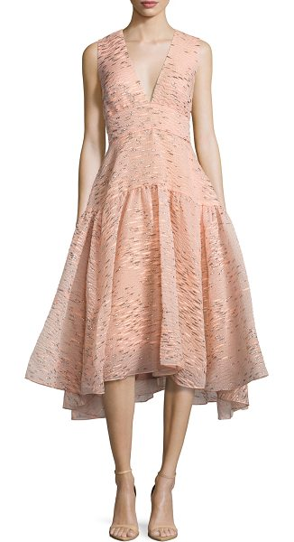 "LELA ROSE Minnow-Jacquard V-Neck Dress - Lela Rose metallic minnow jacquard dress. Approx. 45""L..."