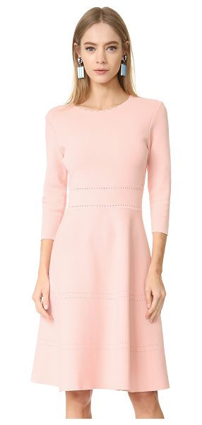 Lela Rose sleeved knit dress in blush - Pointelle detailing accents the sides, waist, and skirt...