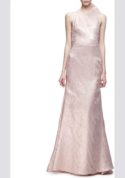 "Lela Rose Sleeveless Bow-Back Mermaid Gown in blush - Lela Rose textured-tweed gown. Approx. 70""L from..."