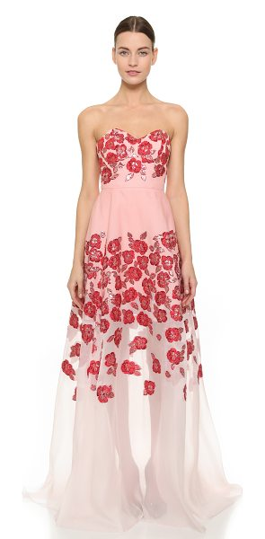 Lela Rose Strapless gown in pink - Shimmering floral detailing lends a romantic element to...