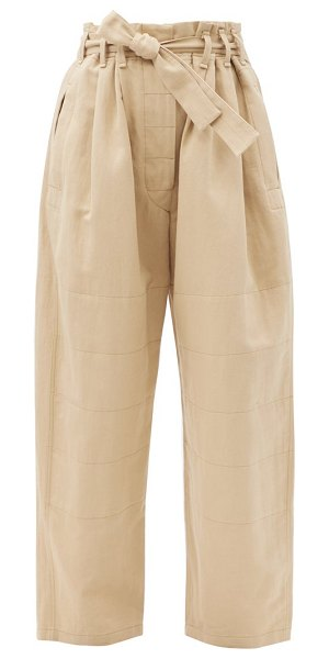 LEMAIRE judo belted cotton-blend wide-leg trousers in beige