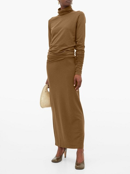 LEMAIRE roll-neck stretch-jersey maxi dress in brown