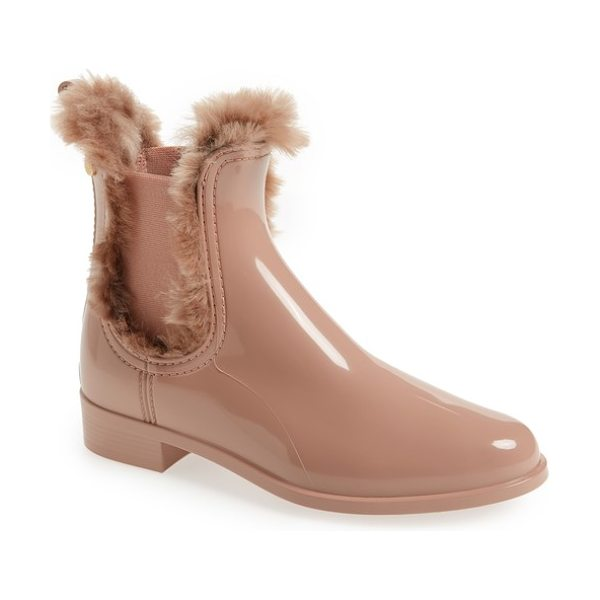 LEMON JELLY aisha waterproof chelsea boot with faux fur lining in rose matte - A lemony scent keeps feet feeling fresh in this...