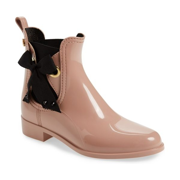 LEMON JELLY haley waterproof chelsea boot in rose gloss - Twill laces strung through goldtone eyelets add charming...