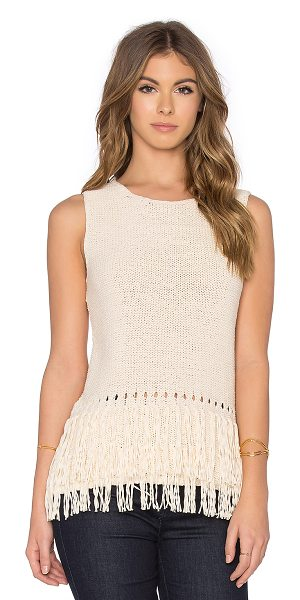 LEO & SAGE Fringe tank in cream - Cotton blend. Hand wash cold. Fringe detail. LEOR-WS4....