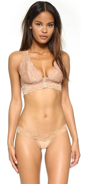 Les Coquines Anastasia halter bra in cafe - Floral lace composes a Les Coquines bralette. Lace up...