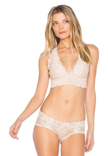 Les Coquines Bardot Bralette in blush - Nylon blend. Hand wash cold. Stretch fit. Delicate...