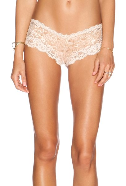 Les Coquines Evi lace cheeky underwear in beige - 90% nylon 10% spandex. Hand wash cold. Stretch fit....