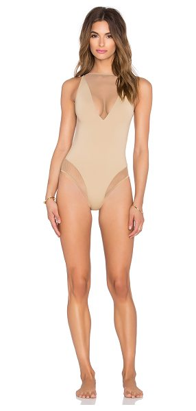 Les Coquines Lara mesh swimsuit in tan - Self: 82% nylon 18% spandexLining: 100% cotton. Hand...