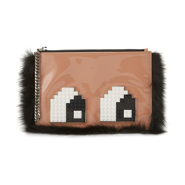 LES PETITS JOUEURS Envelope Eyes Leather Clutch Bag in light pink - Les Petits Joueurs patent leather clutch bag with dyed...
