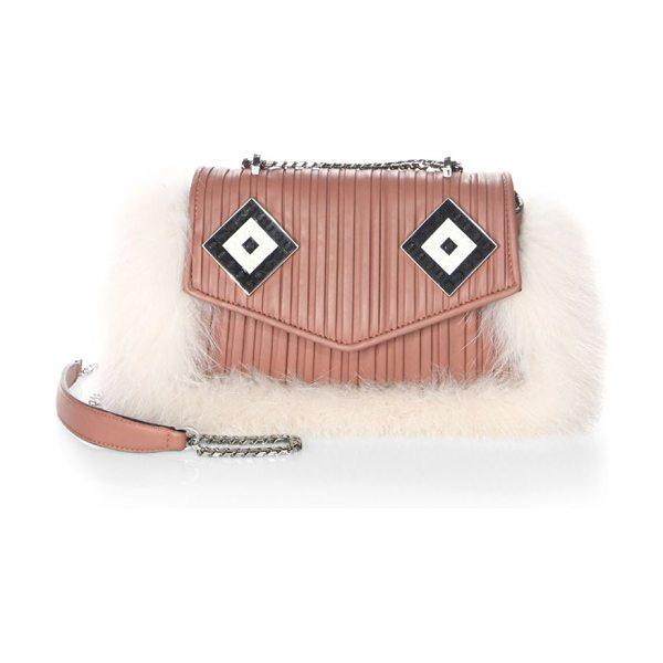 LES PETITS JOUEURS ivy mask fox fur & leather shoulder bag in pink sand - Pleated leather shoulder bag framed with plush fox fur....