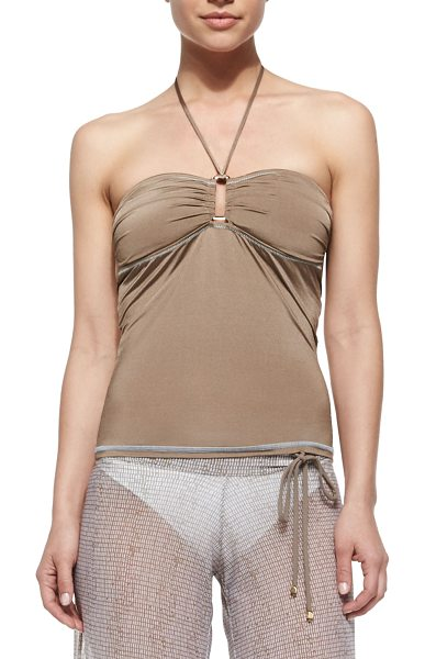 Letarte Bandeau tankini top in coconut husk - Letarte tankini top in microfiber. Bandeau neckline with...