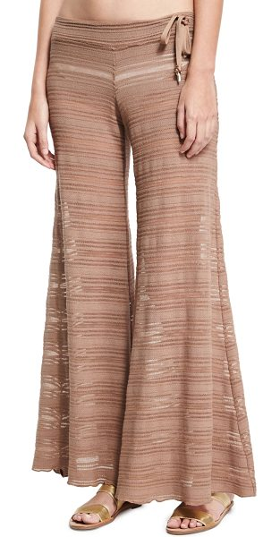 LETARTE Crochet Lace Flare Beach Pants - Letarte coverup beach pants in sheer lace-crochet. Low...