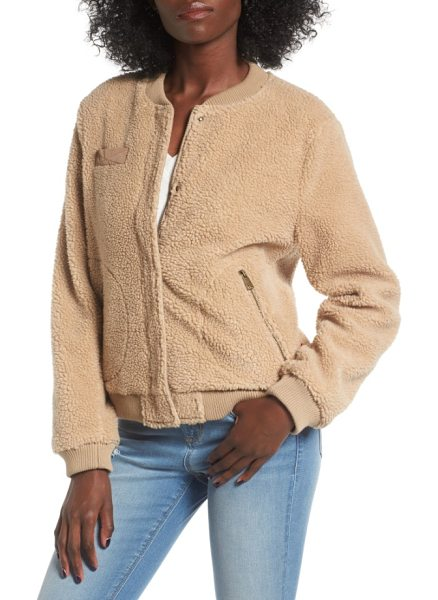 Levi's levi's faux shearling bomber jacket in camel - A stalwart silhouette goes cozy, making this softly...