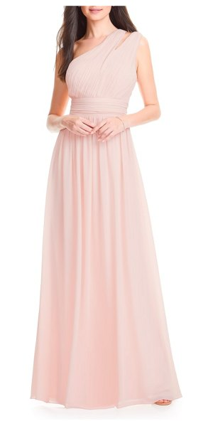 Levkoff # chiffon one-shoulder gown in pink - Boast a statuesque silhouette in this sweeping chiffon...