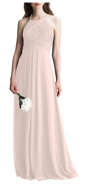 LEVKOFF # halter chiffon a-line gown - This dreamy chiffon gown is incredibly flattering from...