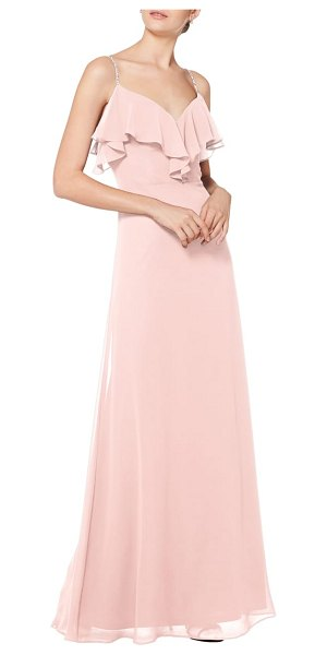 Levkoff # jeweled strap ruffle neck chiffon gown in pink