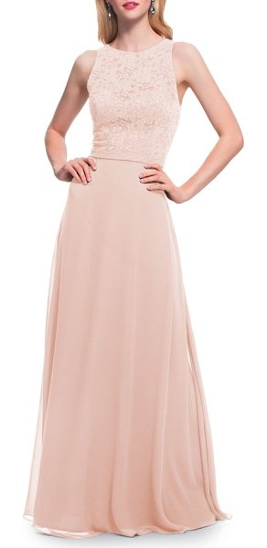 Levkoff # lace bodice chiffon a-line gown in pink
