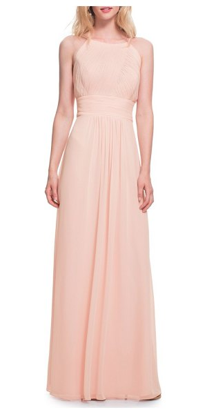 Levkoff # low back pleated chiffon gown in pink