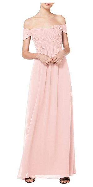 Levkoff # off the shoulder chiffon a-line gown in pink