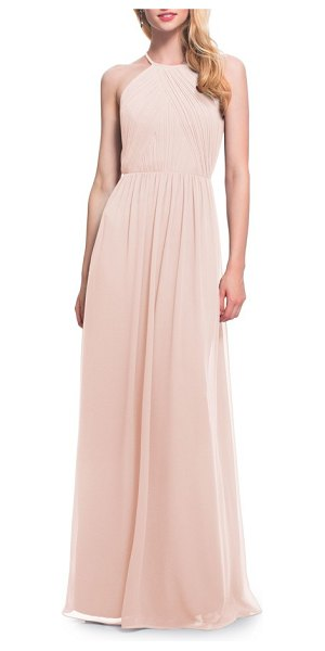 Levkoff # open back halter neck chiffon gown in pink - Dozens of petite pleats add subtle texture to the bodice...