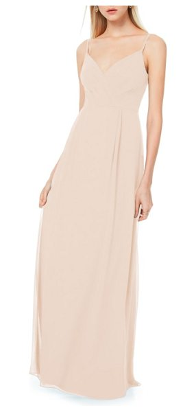 Levkoff # pleated bodice chiffon gown in pink