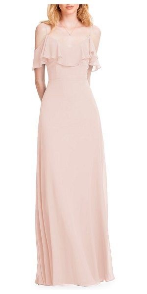 Levkoff # ruffle shoulder chiffon gown in pink