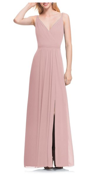 Levkoff # surplice neck chiffon gown in pink