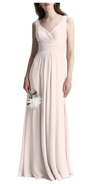 Levkoff # v-neck chiffon a-line gown in petal pink - This dreamy chiffon gown is incredibly flattering from...
