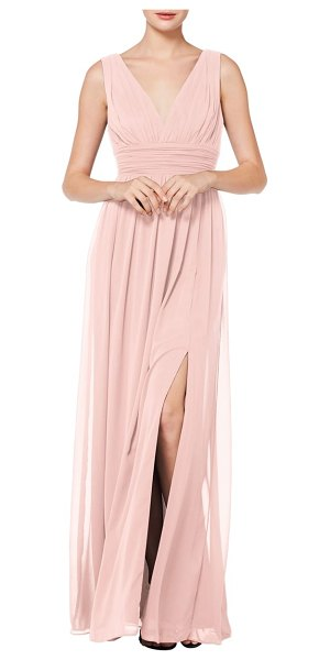 Levkoff # v-neck pleated chiffon evening dress in pink
