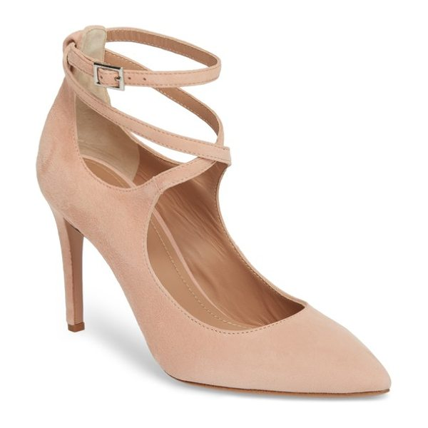LEWIT carita ankle wrap pump in light pink suede - A scene-stealing pump is styled with slim, wraparound...