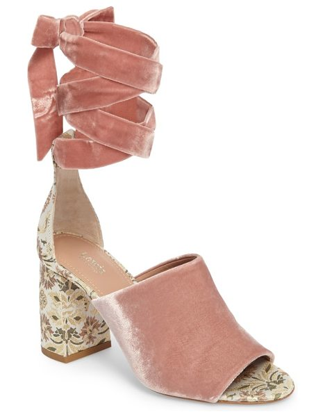 LEWIT liliana ankle wrap velvet sandal in blush velvet/metallic brocade - A floral brocade-wrapped heel refreshes the style of a...